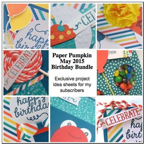 May 2015 Paper Pumpkin Birthday Bundle Exclusive Project Sheets  #stampinup #paperpumpkin www.juliedavison.com